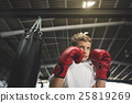 Boy Boxing Training Punching Bag Exercise Concept 25819269