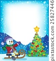 Frame with Christmas tree and snowman 4 25827446