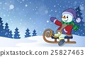 Snowman on sledge theme image 2 25827463