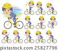 Stripe suit perm hair men on rode bicycle 25827796