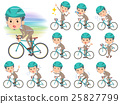 Beige suit short hair beard man on rode bicycle 25827799
