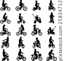 children riding bicycles silhouettes 25834712