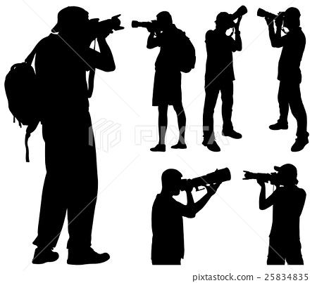 photographers with telephoto lens silhouettes 25834835