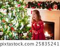 Child decorating Christmas tree 25835241