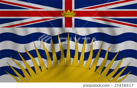 Flag of British Columbia wavy, real fabric texture 25836617