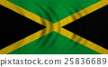 Flag of Jamaica wavy, real detailed fabric texture 25836689