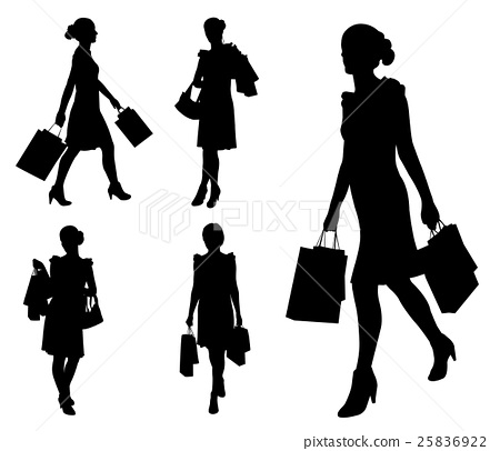 women with shopping bags silhouettes 25836922