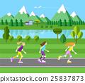 Three girls rollerblading. 25837873