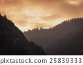 Twilight sky with Silhouette mountain 25839333