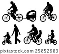 parents riding bicycles with their kids 25852983