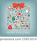 Christmas card with gift box sillhouette. Vector 25853014