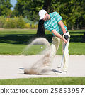 Golfer in sand trap 25853957