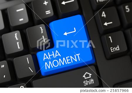 Aha Moment CloseUp of Blue Keyboard Keypad. 3D. 25857966