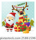 Merry Christmas Greeting card with Santa Claus 1 25861596
