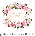 Natural vintage greeting card with roses. Vector. 25863051