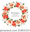 Natural vintage background with a wreath of roses 25863324
