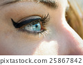 Close-up of young woman's blue eyes with long eyelashes 25867842
