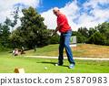 Senior man doing tee stroke on golf course 25870983