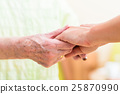 Nurse holding hands of senior woman 25870990