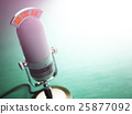 Retro old microphone with text on the air. Radio 25877092