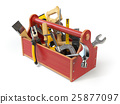 Wooden toolbox with tools isolated on white.  25877097