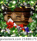 Christmas New Year design wooden background 25886175
