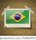 Flags Brazil at frame on a brick background. Vecto 25886942