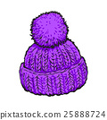 Bright purple winter knitted hat with pompon 25888724