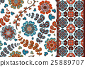 Set of flowers seamless pattern and border 25889707