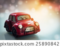 Vintage Red Classic Car Blurry Background 25890842