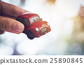 Vintage Red Classic Car in Bokeh Background 25890845
