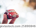 Vintage Red Classic Car in Bokeh Background 25890846
