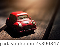 Vintage Red Car on Sunlight Flare Background 25890847