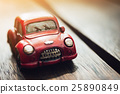Vintage Red Car on Sunlight Flare Background 25890849