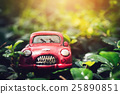 Vintage Red Classic Car in Bokeh Background 25890851
