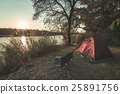 Camping with tent, chairs and camping gear 25891756