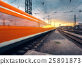 High speed passenger train in motion 25891873