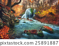 Autumn forest with waterfall at mountain river  25891887