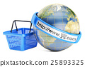 Shopping basket with globe, online shopping 25893325