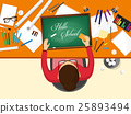Back to school flat background. Online education 25893494