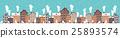Vector illustration. Winter urban landscape. City 25893574