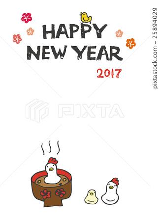 公雞年新年的卡形雞形年糕 25894029
