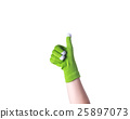 Female hand with green glove isolated on white background, this 25897073