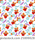 Funny seamless vector  pattern with strawberry 25899028