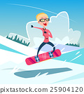 Woman On Snowboard Winter Activity Sport Vacation 25904120