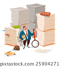 Business Man Hold Magnifying Glass Stacked Paper 25904271