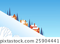 Winter Mountain Slope Village Landscape Background 25904441