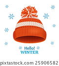 Knitted Woolen Red Hat for Winter Season Card 25906582