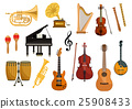 Vector icons of musical instruments 25908433
