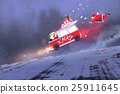 santa claus and the van with christmas gift bags 25911645